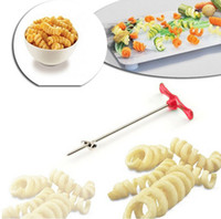 Wholesale Wholesale Vegetable Spiral - Manual Roller Spiral Slicer Radish Potato Tools Vegetable Spiral Cutter Kitchen Accessories Fruit Slicers Carving Knife Handmade Hot 3tt C R
