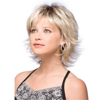 Wholesale Short Wigs For Women Blonde - Short Wave Synthetic Hair Wigs Side Bang Wig Fluffy for Women Ombre Blonde with Free Hair Net