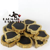 Wholesale Willow Wood - 1pcs Noble Ebony Wood Slices Bar Mats Wood Coasters Reclaimed Willow Wood Coasters Diameter Of 7-27cm Free Shipping