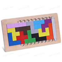 Wholesale imagination toys for sale - Group buy Colorful Wooden Tangram Tetris Game Brain Teaser Puzzle Toys Preschool Imagination Educational Toy Thinking of the Game Puzzle