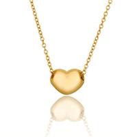 colgante corazón de oro amarillo 18k al por mayor-El mejor regalo de las mujeres corazón 18k colgante de joyería de oro collar WGN638, A + + amarillo de oro blanco piedras preciosas collares con cadenas