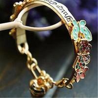 Wholesale Crystal Butterfly Cuff Bracelet - Love Flower Crystal Butterfly Bangle Rhinestones Bracelet Wide Opening Womens Diamond Gold Cuff Bracelets for Women