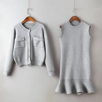 Wholesale korean two piece dresses - Free shipping casual women's suits Korean Slim rabbit hair sweater O-neck long-sleeved knit sleeveless mini-dress fishtail
