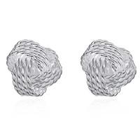 ingrosso orecchini di palla argento-orecchini di nozze placcati placcati gioielli orecchini a sfera intrecciati per le donne orecchini in argento borchie intrecciate borchie gioielli moda 170710