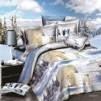 Wholesale Pink Doona Covers - Wholesale- home textile,reactive 3d polar bear lion queen size bedding set of duvet doona cover bed sheet pillow cases 4pcs bed linen set