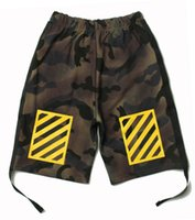 Wholesale Sports Tap - Hot mens BBOY OFF WHITE stripe camouflage side ribbon taps hiphop short trousers casual sport shorts