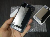 célula de bateria de volta venda por atacado-Substituição de volta com flash difusor tampa da porta da caixa de bateria de vidro preto branco para iphone 4 4g 4s frete grátis por correio ou epacket