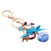 Wholesale Metal Keyfobs - Novelty Cake Macarons Key Chain Ring Holder Metal Tower Keychain Creative Macaron Bag Keyfobs Charms Car Accessories Gift R011