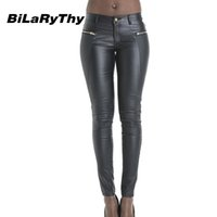 Wholesale Sexy Leather Skinny Jeans - Wholesale- BiLaRyThy Hot Sale Women Sexy Low Waist Faux Pu Leather Jeans Zippered Embroidery Pencil Jeans Stretchy Skinny Pants Trousers