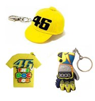Wholesale Keychain Motorcycle - 2016 New arrival high quality Motorcycle VR46 Valentino Rossi keychain cotton cap Keyring yellow color motorcross Keychain cap gloves Tshirt