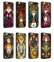 étui drôle pour apple iphone achat en gros de-Pour iphone 7 plus 6 s plus souple TPU noir cas Tarot peinture protecteur silicone drôle cas de téléphone cellulaire