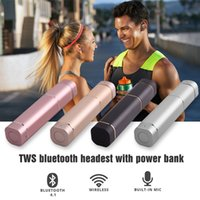 Wholesale Lipstick Charges - Hot Twins TWS K2 Wireless Bluetooth Stereo Headset with power bank Lipstick Headphone In-Ear Earphone Earbuds Earpieces With Charging Socket