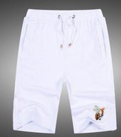 Wholesale Bee Board - Outdoor Solid Bee Beach Shorts Men's Fashion Clothing Summer Leisure Cotton Board Short Pants Swimming Trunks White M-XXL