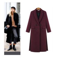 Wholesale Grey Coat Wool Woman - 2017 Women Fall   Winter Simple Notched lapel Woolen Cashmere Long Coat Nibbuns Female Overcoat Manteau femme