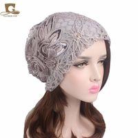Wholesale Lace Beach Hats - New fashon women's lace cap warm beanie cap winter ladies flower baggy beanies hat muslim hijab