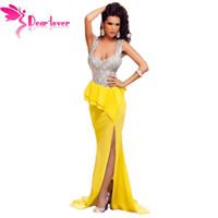 Wholesale Vestidos Longo Noite - DearLove Hot Elegant Floor-Length Vestidos Longo Gowns Robe de Soiree Costly Silver Bust Yellow Frill Party Dress Noite LC60681 17410
