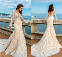 Wholesale Mermaid Gown Designs Long Sleeve - 2017 New Design Lace Mermaid Wedding Dresses Sheer Neck Long Sleeves Backless Court Train Bridal Gown Wedding Party Custom