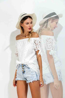 Wholesale White Short Puff Sleeved Blouse - Top Sellers Strapless Corset Top Strapless Clothes White Laced Tops Sexy Hollow Out Short Sleeved White Blouse