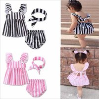 Wholesale Diaper Kids Cute Girls - INS Baby Clothing Sets Girls Stripe Outfits Toddler Dresses Pants Bowknot Headband Kids Tops Diaper Headwear Summer Baby Kids Clothes H168