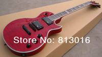 Wholesale guitar quilted maple resale online - Custom LTD EC Deluxe Red Crimson Quilted Maple Top Electric Guitar EMG Pickups Black Hardware Abalone Body Binding Top Selling