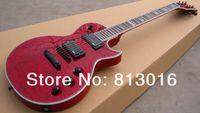 corpo de guitarra quilted maple venda por atacado-Custom LTD EC-1000 Deluxe Vermelho Crimson Acolchoado Maple Top Guitarra Elétrica EMG Pickups Hardware Preto Abalone Body Binding Top Selling