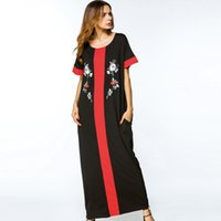 Abito islamico Abaya Black Flower Ricamo con pannelli Patchwork Maxi Dress Estate 2017 Elegante plus size delle donne Abito tuniche a righe rosse