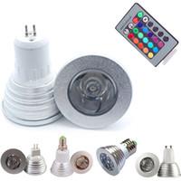 Wholesale mr16 rgb bulb for sale - AC DC12V W RGB LED Bulbs Light AC85 V E27 GU10 E14 GU5 MR16 with Key IR Remote Control Color Changing