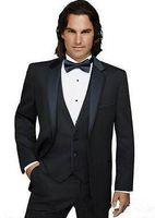 en yaka gelinlik toptan satış-3 Parça İtalyan Adam Damat Smokin Düğün Yaka İnsizyon Siyah Erkekler Suit İş Yemeği Elbise Groomsmen İyi Adam Suits (Ceket + Pantolon + Yelek)