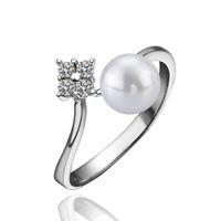 schöne zirkonia ringe für frauen großhandel-Simulierte Perle Ring Frauen Schöne Platin Überzogene Fingerring Geometrische Design Intarsien Zirkonia Diamant Ringe Hochzeit Brautschmuck