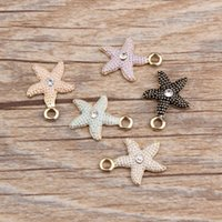 Wholesale Gold Charms Fit Bracelet - Free Shipping 10pcs Gold Tone Alloy Enamel Starfish With Rhinestone Charms Pendant Fit DIY Bracelet Necklace Jewelry Accessories 18*14mm