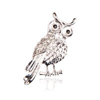 Wholesale Vintage Safety Pins - Trendy Cute Animal Owl Brooches Jewelry Safety Pins Vintage white Plated Full white Crystal Accessories Brooches For Women white