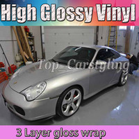 Wholesale High Gloss Vinyl - HIgh Gloss Silver Vinyl Wrap With 3 layers Vehicle Wrapping With Bubble Free For Car Covering Air Free Size:1.52x20m roll