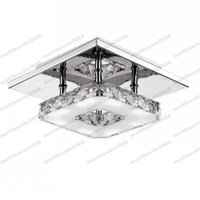 Wholesale Square Crystal Ceiling Lamp - Modern LED Crystal Ceiling Light 12W Fixture Square Surface Mounted Crystal Lamp for Hallway Corridor Asile Light Chandeliers Ceiling MYY