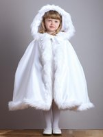 Wholesale Short Bridal Cape - Cute Winter Wedding Coat Princess Flower Grils Bridal Cape Ivory Satin with Fur Trim Wedding Cloak Vintage Christmas Accessories
