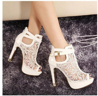 Wholesale Thick Ankle Strap Pumps - New buld silk lace wedding boots white bridal pumps thick heel pink bride shoes 3 colors size 34 to 39 WX