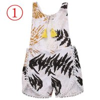Wholesale Tutu Rompers For Girls - 7Colors INS Baby Girls Tassel Jumpsuits Kids Girl Floral Print Rompers for Infants Newborn Babies Bodysuit Princess Playsuit Outfit Sunsuit