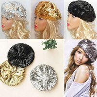 Wholesale Dance Costume Accessories Hat - Wholesale-Women Sequins Hat Shiny Costume Jazz Glitter Dance Beret Round Cap Ladies Fashion Accessories Beanie