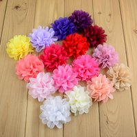 Wholesale Kids Dresses Order - Baby girl hair accessories hair bows 7cm DIY children's headdress kids Dress Chiffon flower girl headband accessories 30 color mix order