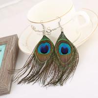 Wholesale Chandelier Logo - European and American Jewelry folk style retro earrings all-match peacock logo luxury fashion dangle chandelier for women