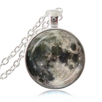 Wholesale Picture Full Moon - Full Moon Necklace Space Picture Pendant Galaxy Jewelry Universe Necklace Grey Moon Pendant Space Jewelry Cabochon Dome Glass Jewellery