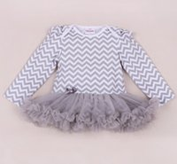 Wholesale Girls Chevron Lace Rompers - Newborn Baby Rompers Dress Fashion Cotton Baby Girl Chevron Striped Jumpsuits TUTU Clothing long sleeve Baby Christmas Clothes