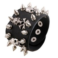 Wholesale Spiked Rope Bracelet - Unique Rock Spikes Rivet Gothic Skeleton Skull Punk Biker Wide Cuff Leather Bracelet G46