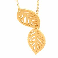 Wholesale Elegant Fashion Jewellery - Wholesale 10Pcs lot 2017 Fashion Stainless Steel Jewelry Pendant Elegant Double Leaf Gold Chains Choker Necklaces For Women Party Jewellery