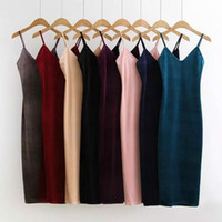 Wholesale One Strap Knee Length - Autumn Winter Brief Style Slip Velvet Suspender Dress For Women Sexy One Side Vent Dress Strap Velvet Dress