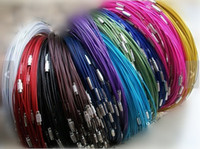 Wholesale Twisted Cord Necklaces - Round Stainless Steel Memory Wire Necklace Chain Hoop Chocker,1mm With Twist Clasp  Screw Clasp ,DIY Accessory