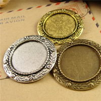 Wholesale Cameo Brooch Settings - Fit 25MM Round brooch pin metal stamping blank tray, vintage gold antique bronze pendant base, tibetan silver bezel cameo cabochon setting