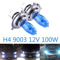 Wholesale H4 Halogen Bulbs Hod - 2pcs H4 9003 100W Halogen Bulbs 12V HOD quartz Ultra-white Light Halogen Bulb 6000K Car Headlights Lamp Light Source