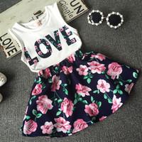 Wholesale set girl retail - Wholesale- girl shirt clothes set summer girls clothes skirt kids girls clothing set clothing sets girls retail