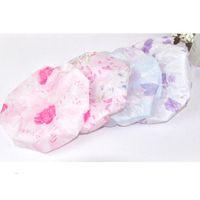 Wholesale Hair Flowers For Adults - Wholesale- 2015 Lace Flower Printing Elastic Shower Caps Plastic Waterproof Spa Bathing Hair Cap Hat Bathroom Accessories For Women Ladies