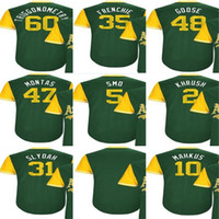 Wholesale Gold Goose - 2017-Little League Oakland Khris Davis Khrush Daniel Gossett Goose Andrew Triggs Jake Smolinski Smo Blank Mens Baseball Jerseys